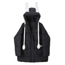Cute Kawaii Girls' Long Sleeve Rabbit Ear Hooded  Pompom Strap Flap Pockets Zip Front Plain Oversize Puffer Coat
