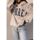 Winter Chic SURE Letter Embroidery Long Sleeve Loose Fit Soft Fluffy Hoodie in Beige
