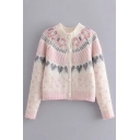 Cute Girls Heart Print Long Sleeve Rose Button Front Pink Chunky Knit Short Cardigan