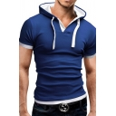 Summer Fashion Contrast Trim Short Sleeve Button Decoration Fitted Drawstring Hoodie
