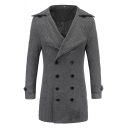 Solid Color Fashion Notched Lapel Double Breasted Longline Basic Woolen Pea Coat