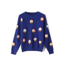 Lovely Cake Embellished Long Sleeve Round Neck Loose Fit Knitted Sweater for Preppy