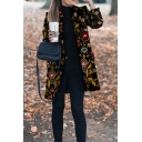 Retro Black Long Sleeve Shawl Collar Floral Printed Slim Fit Midi Wool Coat for Women