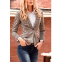 Formal Elegant Ladies' Long Sleeve Notch Lapel Collar Button Down Flap Pockets Patched Fitted Glen Plaid Blazer in Khaki