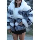 Trendy Warm Women's Long Sleeve Hooded Contrasted Short Baggy Fox Fur Jacket