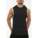Summer Active Plain Curved Hem Sleeveless Hoodie Slim Fit Hooded Sports Vest