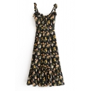 Pretty Girls' Sleeveless Bow Tie Strap Floral Printed Ruffled Trim Pleated Slim A-Line Cami Dress in Black
