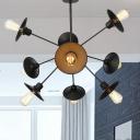 Industrial Flared Hanging Chandelier Lamp Metal 9/12/15 Lights Restaurant Ceiling Light Fixture in Black