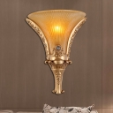 Bell Yellow Glass Wall Sconce Country Style 1 Light Hallway Wall Mounted Lamp in Gold