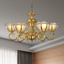 Frosted Glass Bowl Chandelier Lighting Colonial 6 Heads Gold Ceiling Hanging Light with Curved Metal Arm