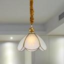 Colonial Flower Suspension Lighting 1 Head White Glass Pendant Ceiling Light for Foyer