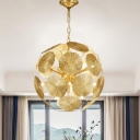 12/20 Bulbs Ball Pendant Lamp Colonial Gold Metal Chandelier Light Fixture for Living Room
