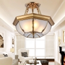 Opal Glass Brass Ceiling Flush Bowl 3/4 Heads Traditionalist Semi Flush Mount Chandelier for Dining Room, 14