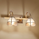 2/3 Bulbs Floral Wall Sconce Traditional Brass Frosted Glass Vanity Light for Bathroom