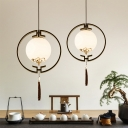 Cream Glass Black Hanging Light Globe 1 Light Traditionalism Down Lighting Pendant for Bedroom