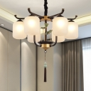 Black 6/8/10 Heads Chandelier Light Traditionalism Opal Glass Cylindrical Suspended Lighting Fixture for Living Room