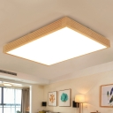 Rectangle Flush Mount Lamp Simple Wood Led Beige Close to Ceiling Lighting for Living Room in Warm/White Light