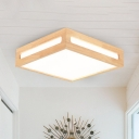 Wood Square Flush Mount Fixture Minimalist LED Beige Flush Ceiling Light in Warm/White Light