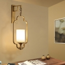 Traditionalism Cylinder Wall Mount Lamp 1 Head Fabric Surface Wall Sconce with Black/Gold Metal Cage