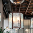 4 Bulbs Lantern Pendant Lamp Retro Antique Copper Frosted Glass Chandelier Light Fixture for Restaurant