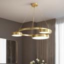 Postmodern Circular Ceiling Chandelier Metal 3 Heads Brass Pendant Light Fixture
