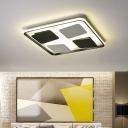 Modern LED Flush Mount Fixture Black-White Rectangle/Square Ceiling Lamp with Acrylic Shade in Warm/White Light