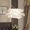 Contemporary Flower-Like Pendant Lighting Fabric 1 Light Living Room Hanging Lamp Kit in Black/White