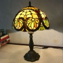 Handcrafted Stained Glass Brass Table Light Dome 1 Head Tiffany Task Lighting for Bedroom