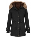 Casual Plain Long Sleeve Hooded Button Zipper Down Drawstring Fluffy Trim Sherpa Liner Loose Parka Coat for Women