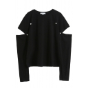 Fashion Street Women's Cut Out Sleeve Crew Neck Button Embellished Relaxed Fit Plain Tee
