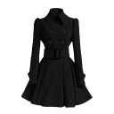 Fancy Ladies' Long Sleeve Lapel Collar Double Breasted Buckle Belted Plain Fitted Pleated Dress Wool Coat