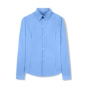 Basic Female Long Sleeve Lapel Collar Button Front Loose Shirt in Blue
