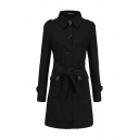 Dressy Stylish Long Sleeve Lapel Collar Button Down Flap Pockets Bow Tie Waist Fitted Long Plain Wool Coat for Female