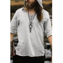 Mens Vintage Plain Lace-Up V-Neck Long Sleeve Gray Hooded Blouse Top