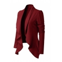 Plain Classic Long Sleeve Shawl Collar Slim Fit Draped Front Blazer for Ladies