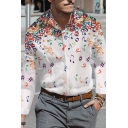 Unique Colorful Musical Note Pattern Long Sleeve Button Up Loose Shirt for Men