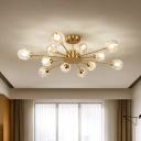 Sputnik Living Room Ceiling Lighting Traditional Faceted Crystal 12 Heads Gold Semi Flush Light