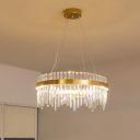 Circular Crystal Rod Ceiling Light Fixture Simple Style Bedroom LED Chandelier Lighting, 16