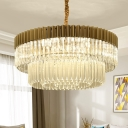 2-Tier Chandelier Light Fixture Modern Crystal Rod 6 Bulbs Brass Ceiling Pendant Light for Living Room
