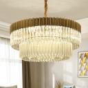 2-Tier Chandelier Light Fixture Modern Crystal Rod 6 Bulbs Brass Ceiling Pendant Light for Living Room