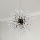 9-Bulb Living Room Chandelier Light Silver Pendant Lighting Fixture with Sputnik Clear K9 Crystal