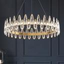 Gold LED Chandelier Lighting Simple Style Teardrop Crystal Circular Suspension Lighting Fixture