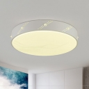 Modern Style Drum Shaped Metal Flush Mount Light Fixture LED Flush Light Fixture in White