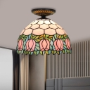 1 Light Flower Ceiling Lighting Victorian Green/Orange/Pink Stained Glass Flush Mount Light Fixture