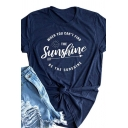 Basic Cozy Roll Up Sleeve Crew Neck Letter THE SUNSHINE Arrow and Sun Printed Loose T-Shirt for Women