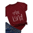 Women's Basic Roll Tab Sleeve Crew Neck Heart Print BE KIND Letter Relaxed T-Shirt