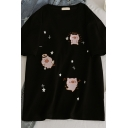 Cute Fashion Short Sleeve Crew Neck Pig Pattern Loose Fit T-Shirt for Girls
