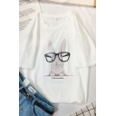 Casual Cute Short Sleeve Crew Neck Letter EYE GLASSES Rabbit Pattern Loose Tee for Girls