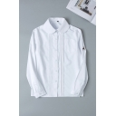 White Basic Long Sleeve Peter Pan Collar Button Down Deer Embroidered Pleated Relaxed Shirt for Girls