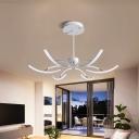 Starburst Acrylic Hanging Ceiling Light Modern 6/10 Lights White Ceiling Chandelier, Warm/White Light
